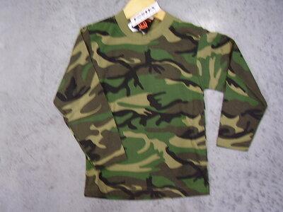 Kinder leger camouflage t-shirt lang mouw woodland.